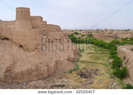 View to the clay buildings and old fortress Yazd, Iran.