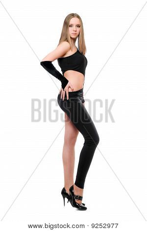 Beautiful Young Woman In Skintight Black Costume