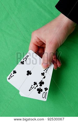 Hand Holding Best Classic Blackjack Combination Ten And Ace Of Clubs