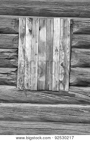 Closed Window In The Wooden Wall