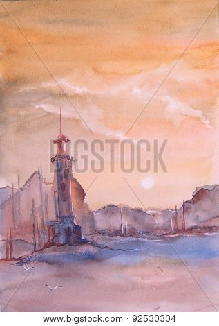 Lighthouse At Sea Watercolor Painting
