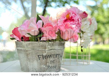 Bouquet Of Beautiful Artificial Flowers Wooden Basket