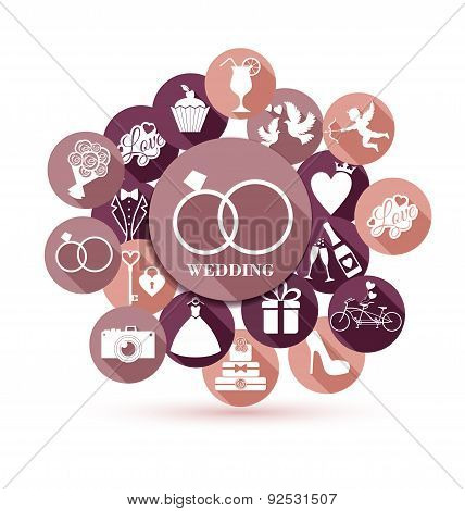 Wedding Illustration Of Invitation With Icons. Flat Design.