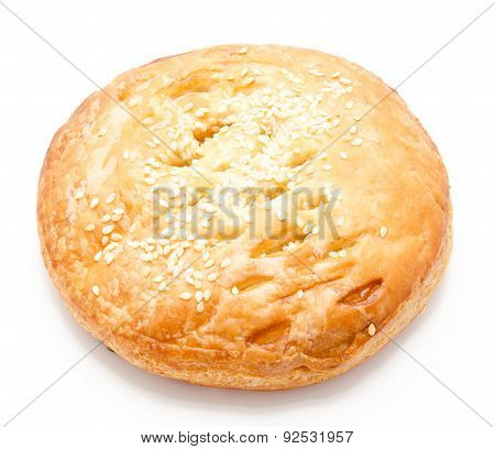 Fresh Puff Pastry With Chicken Isolated