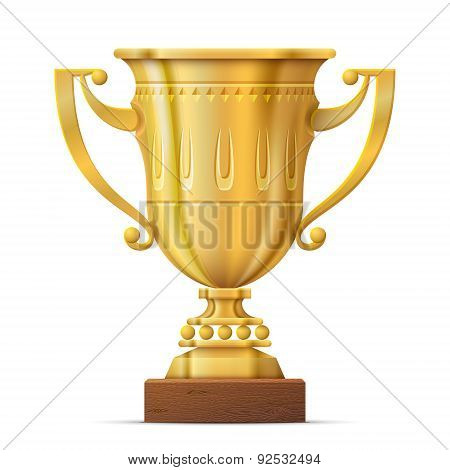 Golden Trophy Cup Isolated On White Background