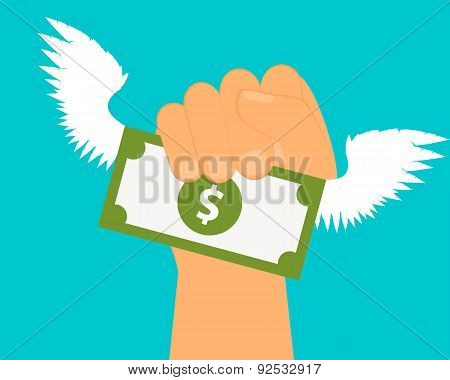 Catch profit. Hand holding money with wings. Vector illustration