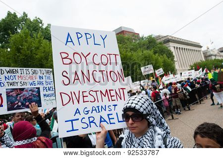 'Boycott, divestment, and sanctions against Israel' protest sign