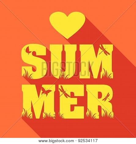 Summer Poster Of Type Composition. Flat Design Holiday Background.