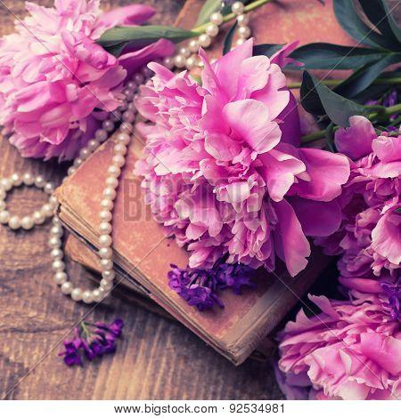 Vintage Background With Fresh Peonies Flowers