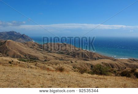 Sunny day on the mountain coast of the Black Sea.