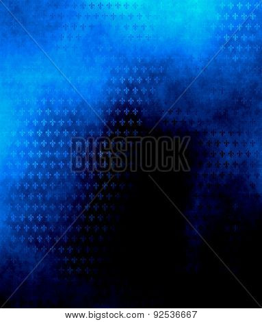 Blue Background With Floral Ornament In Grunge Style
