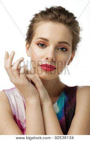 Woman With Red Lips On White Background Isolated