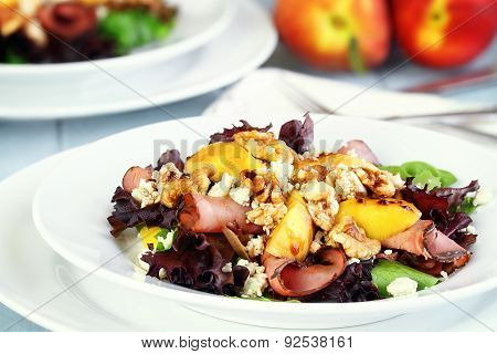 Peach, Gorgonzola And Pastrami Salad