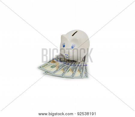 Money Box On Dollar Banknotes