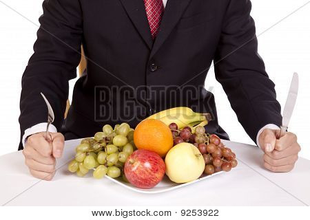 Businessman With Fruit