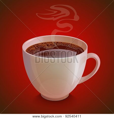 Isolated realistic white coffe cup with vapor on dark red background