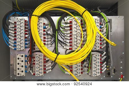 Electrical terminals and wires closeup