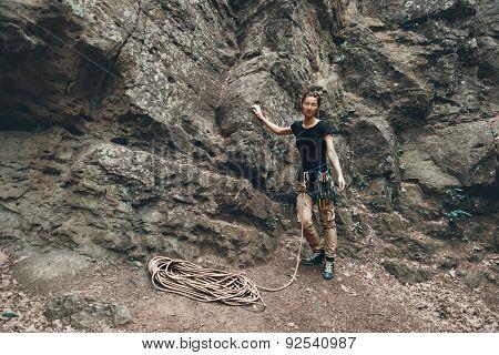 Climber Standing Near The Rock