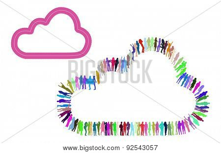 Cloud made of Vector People Silhouettes Over white