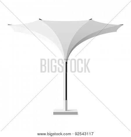 White sun shade tulip umbrella. Vector.