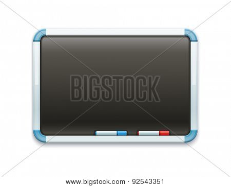 Black office blackboard for drawing and markers. Eps10 vector illustration. Isolated on white background