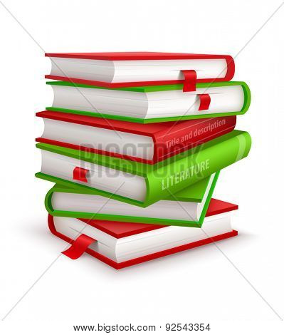 Big pile of books. Eps10 vector illustration. Isolated on white background