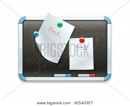 Office blackboard with pinned paper sheets and markers for marketing planning. Eps10 vector illustration. Isolated on white background