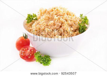 bowl of bulgur,quinona