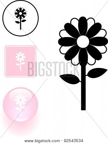 flower symbol sign and button