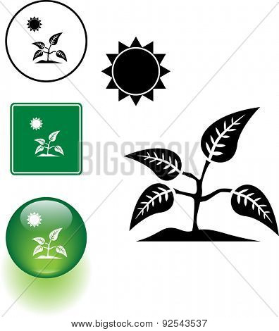plant and sun symbol sign and button