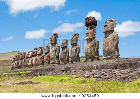 Moais in Easter Island