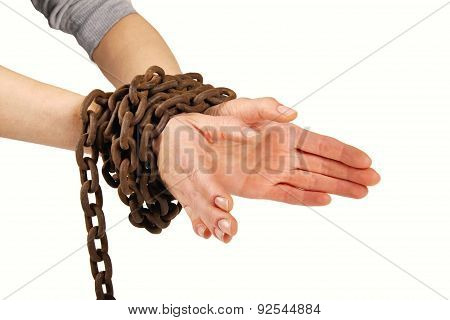 Hands Tied With Chain, Isolated On White