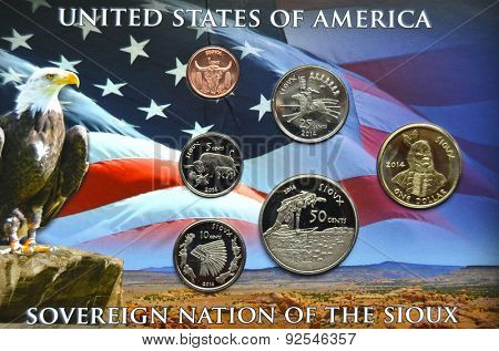 KIEV, UKRAINE - JUNE 4, 2015: Illustrative editorial.Special coin edition.Soverign nation of the Sioux.USA 2014