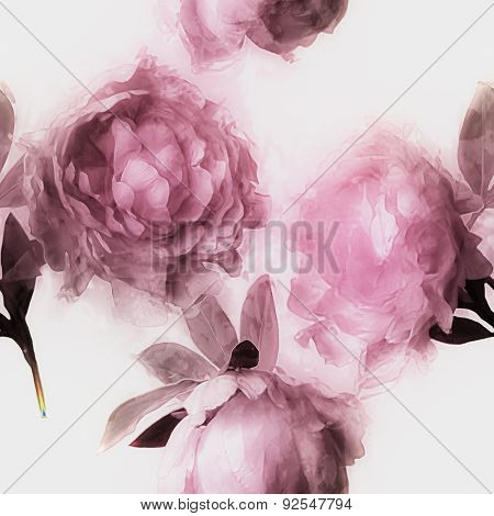 art vintage monochrome watercolor blurred floral seamless pattern  with pink and lilac peonies on white background