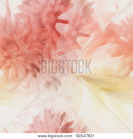 art watercolor blurred vintage floral seamless pattern with white and red gerberas and lilies isolated on white  background