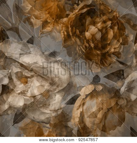 art vintage watercolor blurred floral seamless pattern  with white and gold peonies on grey background. Double Exposure effect