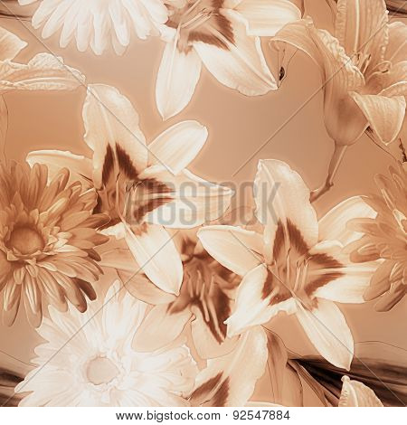 art monochrome watercolor blurred vintage floral seamless pattern with white and brown lilies and gerberas on brown beige background