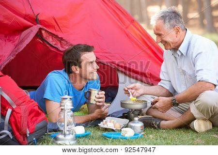 Father And Adult Son Cooking Breakfast On Camping Holiday