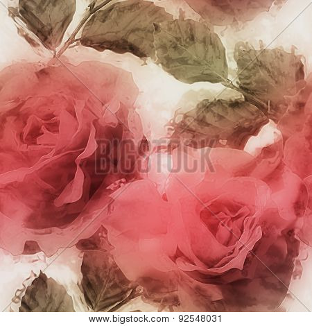 art vintage watercolor blurred floral seamless pattern with red roses on white background