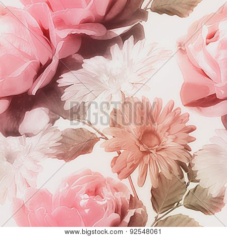 art monochrome vintage watercolor blurred floral seamless pattern with red and white roses and gerberas isolated on white background