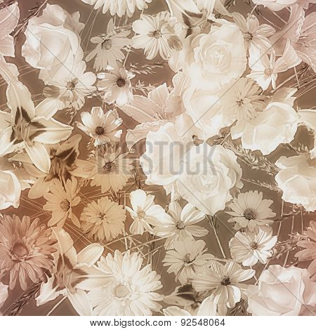 art vintage monochrome watercolor blurred floral seamless pattern with brown and white roses, asters, lilies and gerberas on dark  brown background