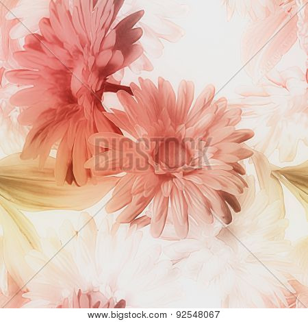 art vintage watercolor blurred floral seamless pattern with red and white lilies and gerberas isolated on white background
