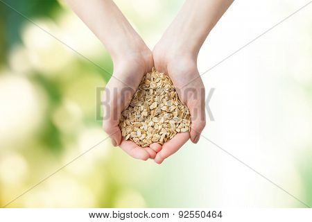 healthy eating, dieting, vegetarian food and people concept - close up of woman hands holding oatmeal flakes over green natural background