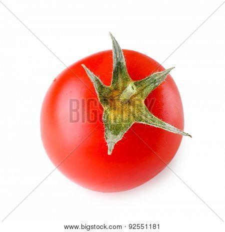Single fresh cherry tomato isolated on white