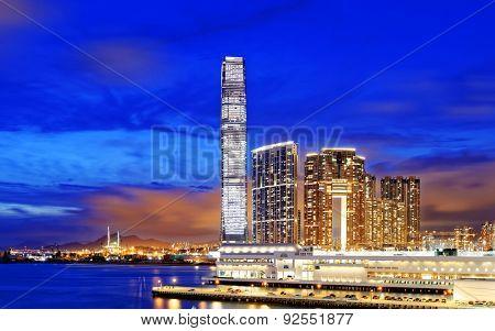 Kowloon office buildings at night, hong kong