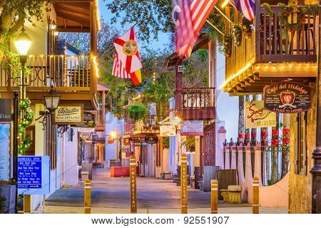 ST. AUGUSTINE, FLORIDA - JANUARY 5, 2015: Shops and inns line St. George. Once the main street, it is still considered the heart of the city.