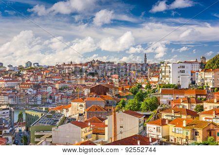 Porto, Portugal Cityscape from Vila Nova de Gaia.