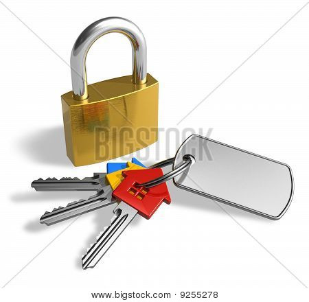 Padlock with bunch of keys