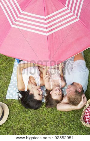 Overhead View Of Family Enjoying Picnic Together