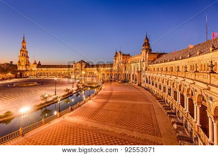 Seville, Spain at Plaza de Espana at twilight.